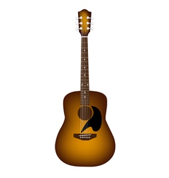 A beautiful acoustic guitar on white background vector
