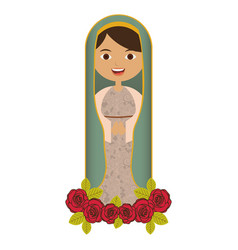 White background of beautiful virgin with ornament vector
