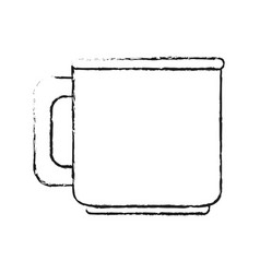Blurred silhouette image porcelain mug of crockery vector