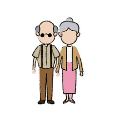 cute couple the grandparents holding hands vector image