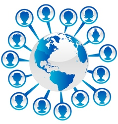 Blue Earth with People Icons vector image
