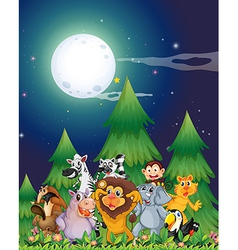 Animals near the pine trees under the bright vector image