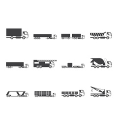 Silhouette different types of trucks and lorries vector