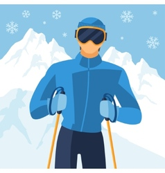 Man skier on mountain winter landscape background vector