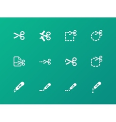 Scissors with cut lines icons vector