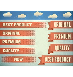 Set of vintage premium quality ribbons vector
