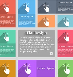Click here hand icon sign set of multicolored vector