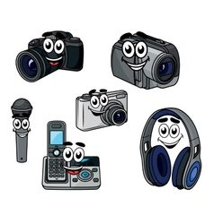 Cartoon cheerful digital devices and gadget vector