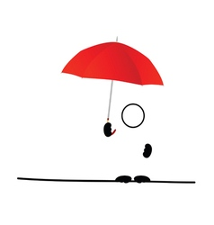 Man icon with umbrella red vector