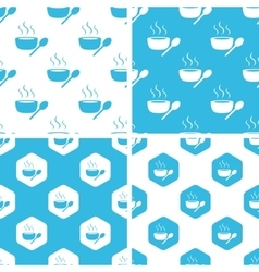 Hot soup patterns set vector