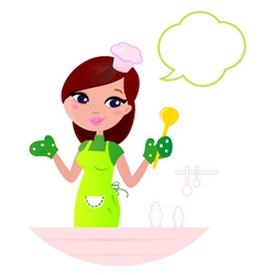 Cooking woman vector