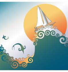 sailboat in ocean vector image