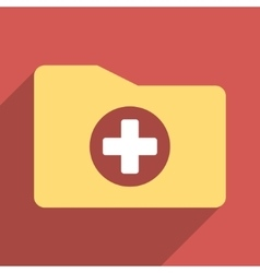 Medical folder flat square icon with long shadow vector