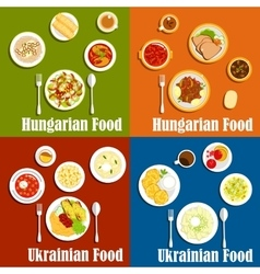 Hungarian and ukrainian national cuisine vector