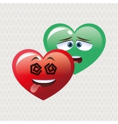 Flat of cartoon face design heart vector