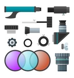 Colorful telescope accessories collection vector