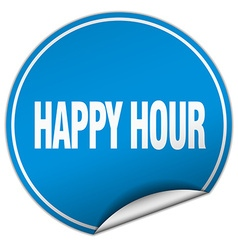 Happy hour round blue sticker isolated on white vector