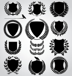 set - shield and laurel wreath vector image