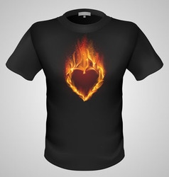 T shirts black fire print man 21 vector