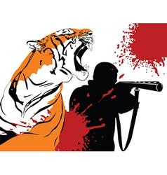 A hunter and a tiger vector
