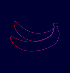 Banana simple sign line icon with vector