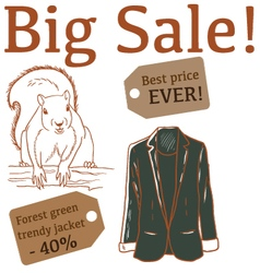 Big Sale with squirrel and jacket vector image vector image