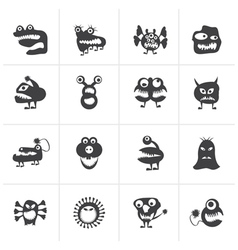 Black various abstract monsters vector image