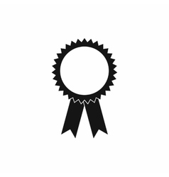 Blank award rosette with ribbon icon simple style vector
