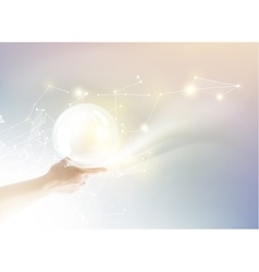 Bright light ball over human hand vector
