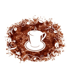 Brown Grungy Banner with Coffee Cup and Beans vector image