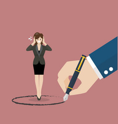 Business woman stand inside a circle painted by vector