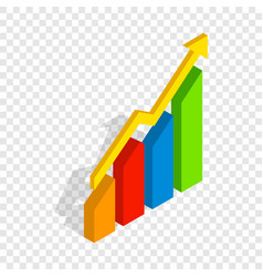 Chart arrow up isometric icon vector