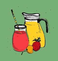 Cold drinks with fruits and berries jar and glass vector
