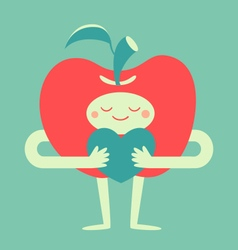 Cute Apple Hugging a Heart vector image