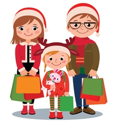 Family with christmas shopping vector