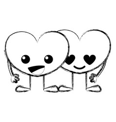 Figure tender hearts couple kawaii cartoons vector