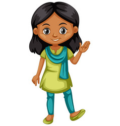 Indian girl in green and blue outfit vector