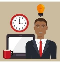 man laptop clock idea vector image
