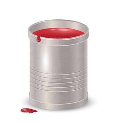 Metallic textured bucket with red paint vector image