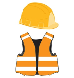 Orange building helmet and vest vector