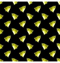 Retro yellow school bell seamless pattern vector