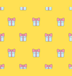 seamless pattern with gift boxes on yellow vector image vector image