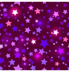 Seamless with shiny purple stars vector image