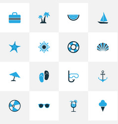 Season colorful icons set collection of flip flop vector