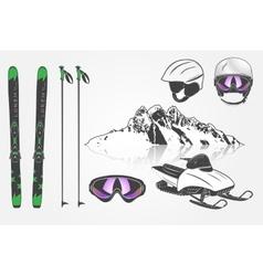 Set ski club team mountain and outdoor adventures vector