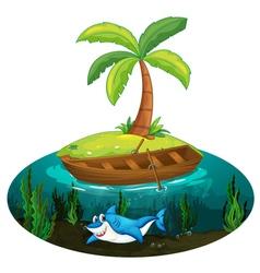 Shark and island vector