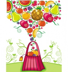 shopping bag with fruit splash vector image vector image