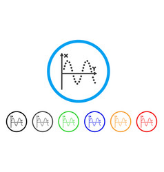 Sine plot rounded icon vector