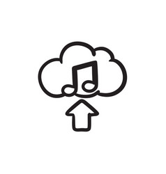 Upload music sketch icon vector