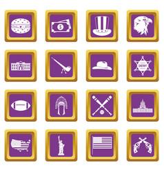 Usa icons set purple vector